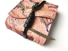 Pink and Black Marbled Leather Journal  by TheSpeckledKat on Etsy