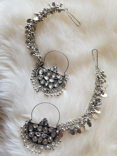 Oxidized Silver Beaded Chandbali Hoop Earrings – The Shaadi Shop Indian Jewelry Earrings, Indian Jewelry Sets, Jewelry Design Earrings, Gold Earrings Designs, Silver Jewellery Indian, Silver Earrings, Hoop Earrings, Silver Ring, Silver Jewelry