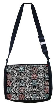 Floral Grunge Cross Body Shoulder Messenger Laptop Bag