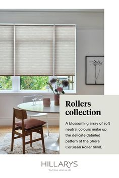 The blush pink tones of Shore Cerulean Roller blind adds softness and elegance in this dining room. A modern twist on neutral décor, we've taken inspiration from Scandinavian style, making use of clean, simple lines and organic materials. View our beautiful range and styles of Roller blinds for your dining room.