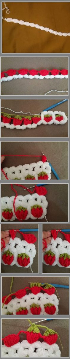 "Çilekli banyo lifi [ "" So cute! Crochet Motifs, Crochet Borders, Crochet Stitches Patterns, Crochet Designs, Crochet Afghans, Stitch Patterns, Knitting Patterns, Love Crochet, Crochet Flowers"