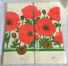 2 Vintage Hallmark Red Poppy Paper Tablecloths Sealed New Pre UPC 60x102