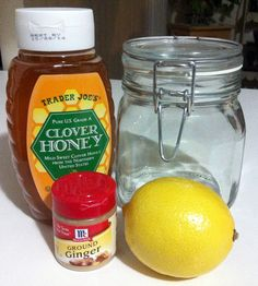 Natural honey, lemon and ginger sore throat and cough remedy. You can't go wrong with these 3 ingredients!