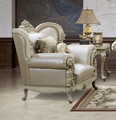 This traditional sofa set will create a sophisticated look to your formal living room. Decorative accent pillows add the finishing touch to this classic sofa set. Living Room Table Sets, Formal Living Rooms, Living Room Chairs, White Leather Sofa Set, Cream Leather Sofa, Leather Chairs, Sofa Design, Furniture Design, Traditional Sofa