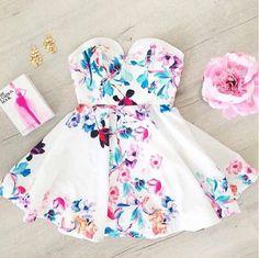 Sweet white print dress