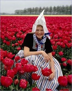 dutch girl in a sea of red tulips