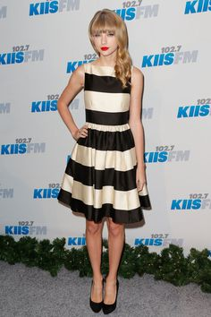 Wear Retro Stripes and Red Lips Like Taylor Swift - A Celebrity Guide to Holiday Party Dressing - Photos