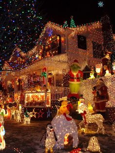 Christmas lights, Queens, NYC. I've seen this house on the Food Network and the feast they serve looks even more spectacular than the outside of the house!!!