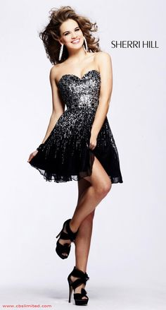 Black Short Strapless Beaded Ruffled Chiffon Homecoming Dress By ...