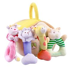 iPlay iLearn 4 Plush Baby Soft Rattle Set Hand Grab Sensory Toys Organic Teether and Shaker Farm Stuffed Animals Shower Gifts for 2 3 6 9 12 18 Month Olds Newborn Infant Toddler Boy Girl Stages Of Baby Development, Vtech Baby, Baby Vision, Educational Baby Toys, Cute Stuffed Animals, Adorable Animals, Developmental Toys, Sensory Toys, Baby Rattle