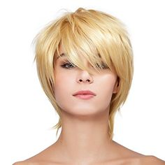 Diy-Wig Natural Blond Short Straight Synthetic Full Wigs…