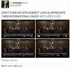 Omo when I watched this press conference I felt so touched. My ultimate bias noticed our efforts! Keep on supporting our boys, international ARMYs! We are family! Our love for bts connects us to each other! Fighting!