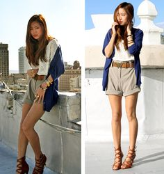 Blue cardigan, eyelet white top, khaki high waisted shorts and butterfly belt #fashion.   love it short but not skin tight!