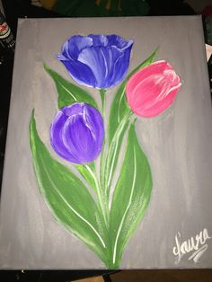 Pintura con tulipanes de colores Easy Flower Painting, Flower Painting Canvas, Canvas Painting Tutorials, Diy Canvas Art, Painting Lessons, Fabric Painting, Painting & Drawing, Flower Art, Poster Color Painting