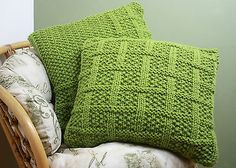 KNITTING PATTERN 003 Square Lattice Pattern CUSHION COVERS Super Chunky Yarn