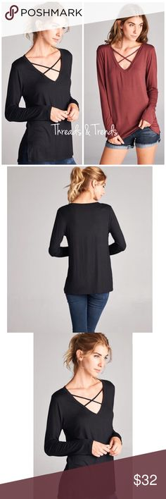 V Neckline Criss Cross Top Back to basics long sleeve top with some flair. The trendy criss cross v neckline. Perfect everyday wear for the office or casual. Trendy color Redbrick and black. Made of rayon and spandex. Sizes S/M, M/L, L/XL Threads & Trends Tops Tees - Long Sleeve