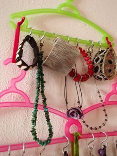 DIY necklaces holder made with Co.Import coat hangers, Tiger velvet ribbons and S hooks - designed and made by archiLAURA