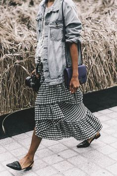Ruffled gingham skirt, denim jacket outfit, flat loafers, ruffled trend, checked skirt, Spring 2017 outfits, street style trends spring 2017