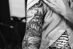 ocean sleeve tattoos black and white - Google Search