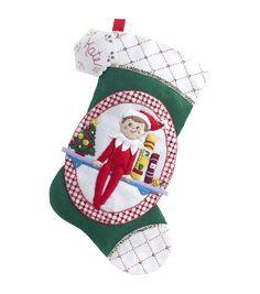 "Elf On The Shelf Scout Elf Stocking Felt Applique Kit-18"" Long"