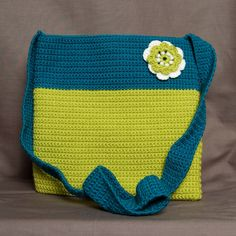 Hand crocheted blue and lime green bag, handbag, purse by Knits And Bobs on Etsy, £20.00. Handmade. Crochet