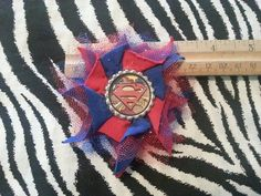 Superman Handmade TulleFlower Blue Red Hair Bow Clip Cosplay Comic Super Heroes  #Handmade