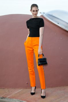 Laura Love - Christian Dior Resort 2016 Front Row Sharp, classy, love the color impact from the orange pant!