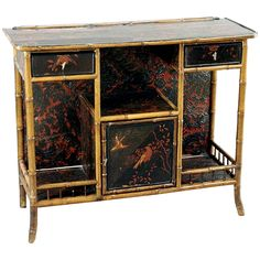 Spectacular 19th Century English Bamboo and Chinoiserie Console or Bar | From a unique collection of antique and modern dry bars at https://www.1stdibs.com/furniture/storage-case-pieces/dry-bars/