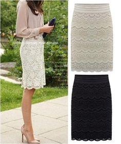 Women Knee Length Lace Pencil skirts Fashion saias femininas 2014 new black beige female grunge Ladies slim office workwear US $23.98