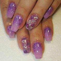 50 unique nail art designs 2016 - style you 7 Nail Art Designs 2016, Purple Nail Designs, Gel Nail Colors, Gel Nail Art, Sexy Nails, Cute Nails, Pretty Nails, Purple Nail Art, Valentine Nail Art