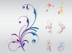 Swirly Floral Designs Vector Art & Graphics | freevector.com
