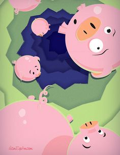 Falling Pigs on Behance - Illustrated by Heather Martinez