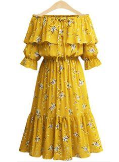 Off shoulder slash neck high waist ruffle dress Chiffon floral print yellow dress Plus Size Dresses For Women Dresses Uk, Dress Outfits, Casual Dresses, Short Dresses, Fashion Dresses, Summer Dresses, Ladies Dresses, Party Outfits, Linen Dresses