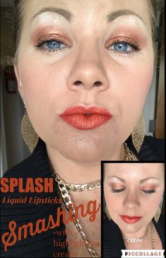 "Younique liquid lipstick ""Smashing"" and ""Defiant"" Splurge cream shadow"