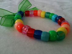 Festival chic- Rainbow Colourful Plastic Bead Bracelet with Organza Ribbon Tie Fastening