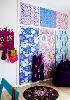 wallpaper just the closet doors. I think I would even use fabric on my closet doors, for sure! It would look so lovely!