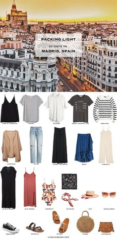 What to Pack for Madrid, Spain - livelovesara If you are wondering what to pack for a 10 Day Madrid, Spain vacation, you can see some ideas here. What to Pack for Madrid Packing Light List Capsule Wardrobe 2018, Travel Wardrobe, Vacation Wardrobe, Travel Outfit Summer Airport, Summer Travel, Summer Packing Lists, Vacation Packing, Travel Packing, Spain Fashion