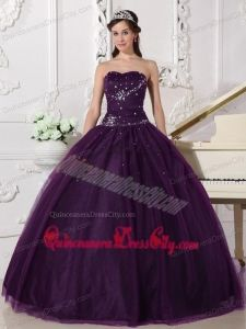 Dark Purple Ball Gown Sweetheart Floor-length Tulle Rhinestone Quinceanera Dress