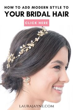 Add Modern Style to your Bridal Hair with the Wisteria Blossom Hair Vine. It's all about romance with the hand-set pave Swarovski crystals in this hair vine. The pear & marquis jewel blossoms add a hint of modern style. How will you wear this vine? As a crown? A reverse crown? Or a profile hairpiece? This Wisteria Hair vine works with whatever look you love. See more detail at LauraJayne.com #bridalhairaccessories #weddinghairaccessory #crystalheadband #laurajayne Loose Hairstyles, Bride Hairstyles, Pretty Hairstyles, Hairstyle Ideas, Hair Ideas, Bridal Braids, Diy Wedding Hair, Wedding Dress Accessories, Wedding Dresses