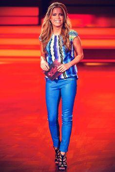 Sylvie van der Vaart in blue leather trousers