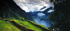 Geirangerfjord, Norway - most picturesque place on the planet, especially on a sunny day. Don't forget to take a cruise and see all of the beautiful waterfalls along the way <3 <3