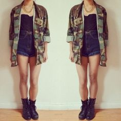 women cloth, outfit idea, vintag fashion, style, camo jacket outfit, jackets, camo army jacket