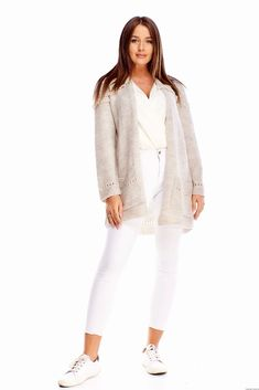 Sweter z kieszeniami -beżowy White Jeans, Pants, Fashion, Moda, Trousers, Fashion Styles, Women Pants, Women's Pants, Fashion Illustrations