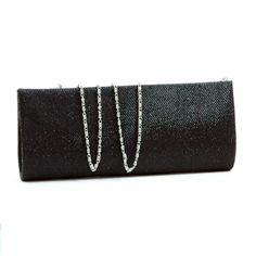 Evening bag clutch w/ glittered fabric overlay