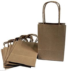 """Creative Hobbies® 24 Brown Small Paper Gift Handle Bags Approx. 5.25"""" x 3"""" x 8.5"""" Size Shopper Wedding, 100% Recycled Paper, USA Made"""