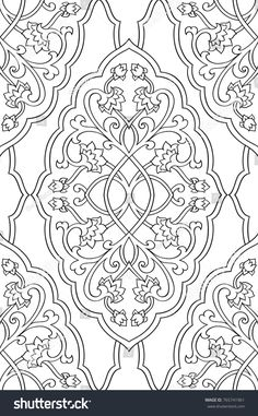 Floral pattern with damask. Black and white template for wallpaper, textile, shawl, carpet. Islamic Art Pattern, Arabic Pattern, Pattern Art, Black And White Wallpaper, Black And White Colour, Coloring Books, Coloring Pages, Colouring, Embroidery Patterns