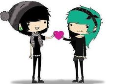 Ahhhhhhhhhhhh I wish this was me and I wish I had an emo boyfriend! Too bad I'm forever alone and no one likes me! Emo Couples, Anime Couples, Scene Girls, Emo Scene, Arte Emo, Emo Pictures, Emo Art, Emo Love, Emo Girls