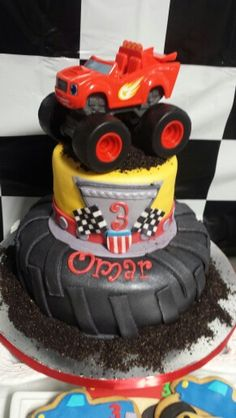 Blaze cake Blaze and the monster machine boys birthday party awsome