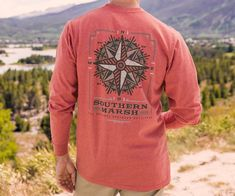 842832f847e Southern Marsh Men s Long Sleeve Compass Tee- Washed Red