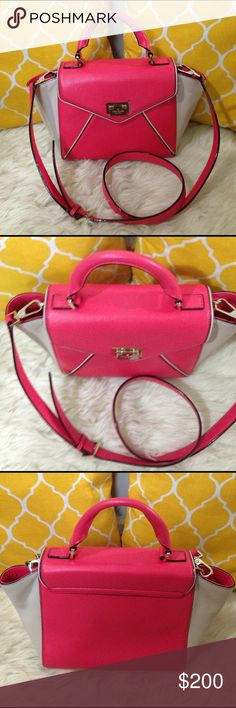 "🌸OFFERS?🌸Kate Spade 2 Way Satchel 💟Authentic💟Excellent shape. Minor signs of use. All parts intact and functional. Features one zip pocket and two open inside, cute opening, handle and removable and adjustable strap. Great for fun trips & travel or just an everyday purse. Wear it as a handbag, shoulder or crossbody. ✨Feel free to bundle✨ 💐Dimensions: Length-12.5""                            Height-7.5""                            Bottom width-5""                            Handle drop-4""…"